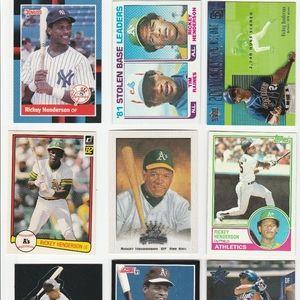 Rickey Henderson 33 Baseball Card Lot Yankees A's
